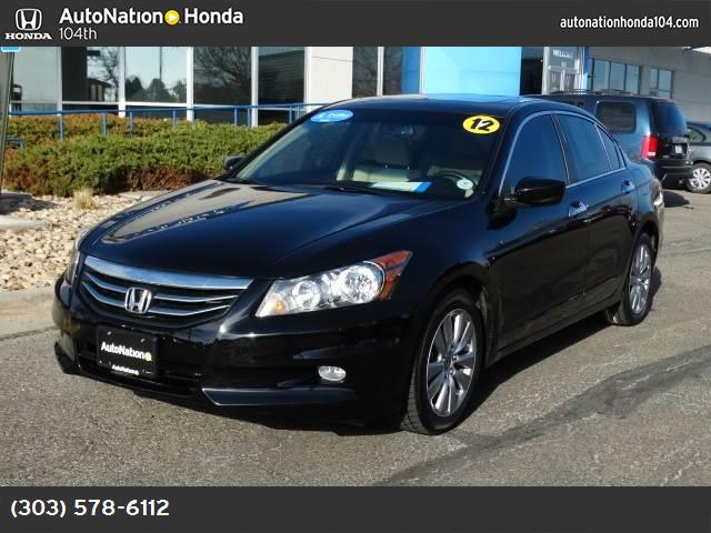2012 Honda Accord Sdn EX-L crystal black pearl gray  seat trim front wheel drive power steering